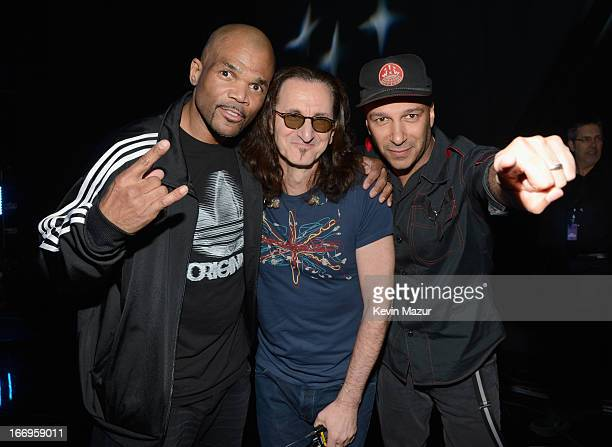 Inductee Darryl McDaniels inductee Geddy Lee and musician Tom Morello attend the 28th Annual Rock and Roll Hall of Fame Induction Ceremony at Nokia...