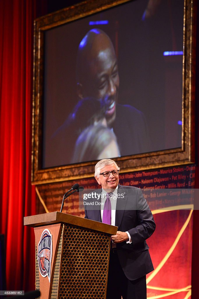Inductee <a gi-track='captionPersonalityLinkClicked' href=/galleries/search?phrase=David+Stern&family=editorial&specificpeople=206848 ng-click='$event.stopPropagation()'>David Stern</a> speaks during the 2014 Basketball Hall of Fame Enshrinement Ceremony on August 8, 2014 at the Mass Mutual Center in Springfield, Massachusetts.