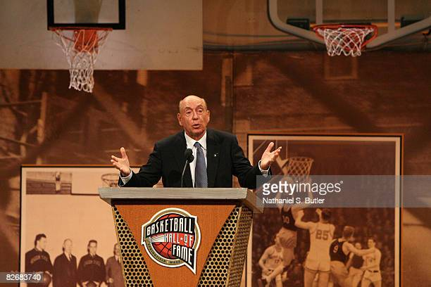 Inductee Dick Vitale speaks during the 2008 Hall of Fame Enshrinement Ceremony on September 5 2008 at the Basketball Hall of Fame in Springfield...