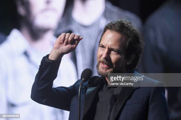 Inductee Eddie Vedder speaks onstage at the 32nd Annual Rock Roll Hall Of Fame Induction Ceremony at Barclays Center on April 7 2017 in New York City...