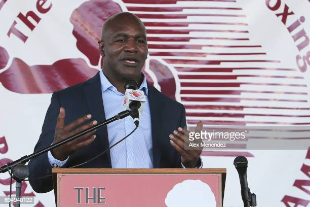 Inductee Evander Holyfield is seen during the International Boxing Hall of Fame induction Weekend of Champions event on June 11 2017 in Canastota New...
