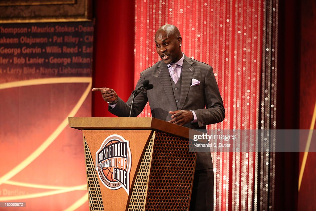 Inductee <a gi-track='captionPersonalityLinkClicked' href=/galleries/search?phrase=Gary+Payton&family=editorial&specificpeople=201500 ng-click='$event.stopPropagation()'>Gary Payton</a> speaks during the 2013 Basketball Hall of Fame Enshrinement Ceremony on September 8, 2013 at the Mass Mutual Center in Springfield, Massachusetts.