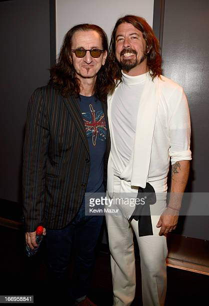 Inductee Geddy Lee and musician Dave Grohl attend the 28th Annual Rock and Roll Hall of Fame Induction Ceremony at Nokia Theatre LA Live on April 18...