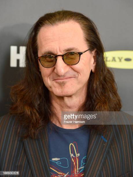 Inductee Geddy Lee of Rush attends the 28th Annual Rock and Roll Hall of Fame Induction Ceremony at Nokia Theatre LA Live on April 18 2013 in Los...