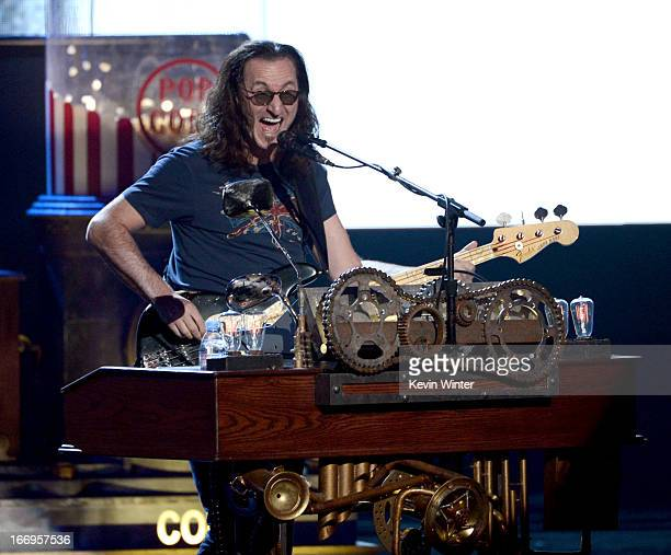 Inductee Geddy Lee of Rush performs onstage at the 28th Annual Rock and Roll Hall of Fame Induction Ceremony at Nokia Theatre LA Live on April 18...