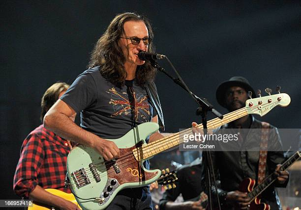 Inductee Geddy Lee of Rush performs onstage during the 28th Annual Rock and Roll Hall of Fame Induction Ceremony at Nokia Theatre LA Live on April 18...