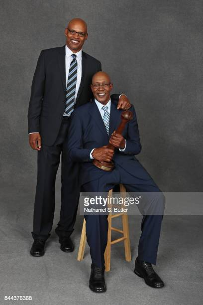 Inductee George McGinnis and Clark Kellogg pose for a portrait prior to the 2017 Basketball Hall of Fame Enshrinement Ceremony on September 8 2017 at...