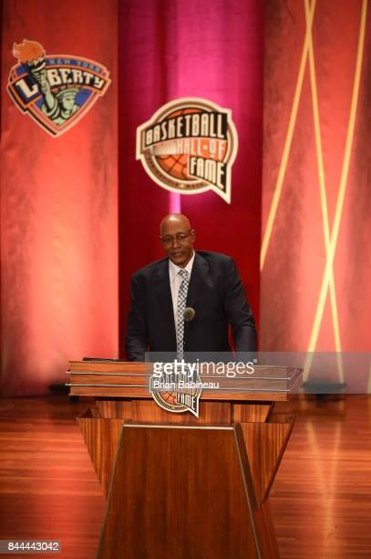 Inductee George McGinnis speaks during the 2017 Basketball Hall of Fame Enshrinement Ceremony on September 8 2017 at the Naismith Memorial Basketball...