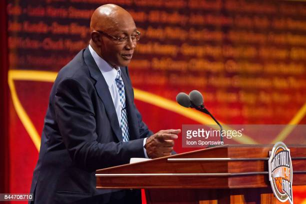 Inductee George McGinnis speaks during the 2017 Naismith Memorial Basketball Hall of Fame Enshrinement Ceremony on September 8 at Symphony Hall in...