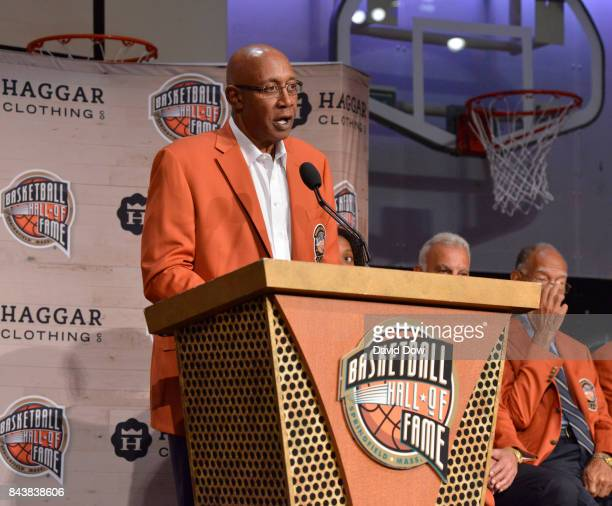Inductee George McGinnis speaks during the Class of 2017 Press Event as part of the 2017 Basketball Hall of Fame Enshrinement Ceremony on September 7...