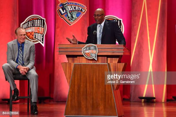 Inductee George McGinnis speaks to the crowd during the 2017 Basketball Hall of Fame Enshrinement Ceremony on September 8 2017 at the Naismith...