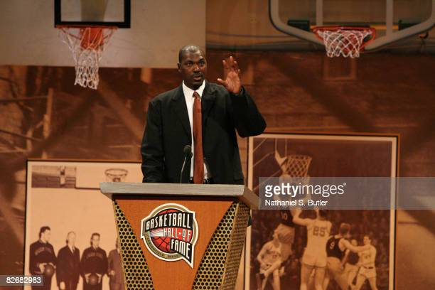 Inductee Hakeem Olajuwon speaks during the 2008 Hall of Fame Enshrinement Ceremony on September 5 2008 at the Basketball Hall of Fame in Springfield...