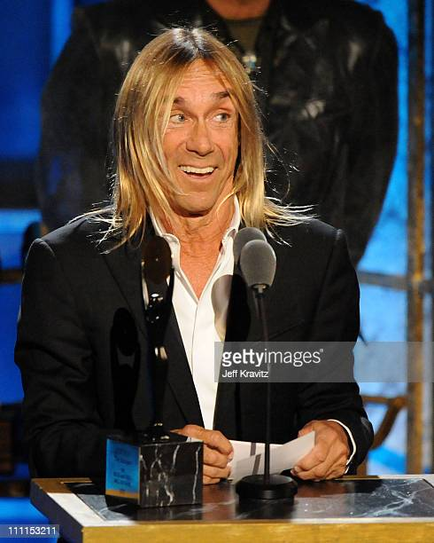 Inductee Iggy Pop of Iggy the Stooges speaks onstage at the 25th Annual Rock and Roll Hall of Fame Induction Ceremony at the Waldorf=Astoria on March...