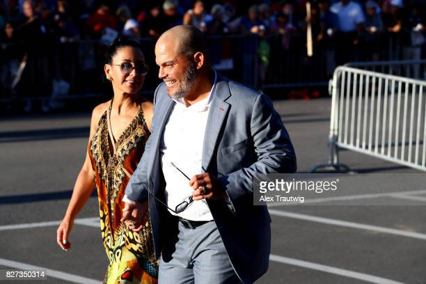Inductee Ivan Rodriguez arrives during the 2017 Hall of Fame Parade of Legends at the National Baseball Hall of Fame on Saturday July 29 2017 in...