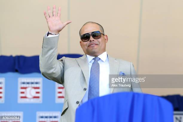 Inductee Ivan Rodriguez is introduced during the 2017 Hall of Fame Induction Ceremony at the National Baseball Hall of Fame on Sunday July 30 2017 in...