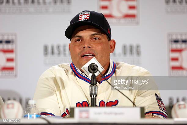 Inductee Ivan Rodriguez speaks during the 2017 Baseball Hall of Fame press conference on Thursday January 19 2017 at the St Regis Hotel in New York...