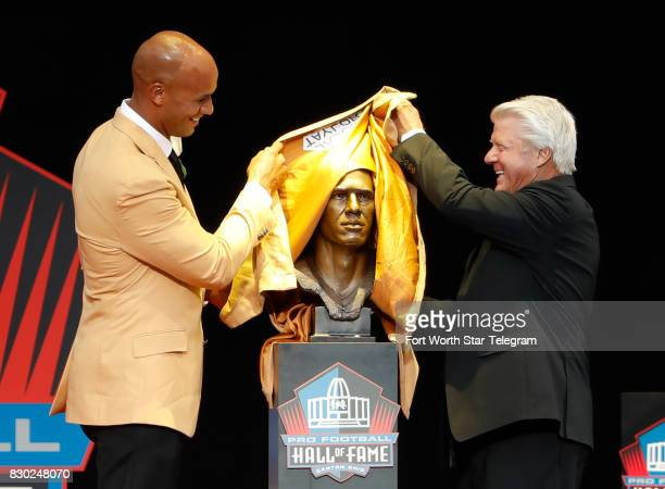 Inductee Jason Taylor was introduced by his former coach Jimmy Johnson The 2017 NFL Hall of Fame class including Dallas Cowboys owner Jerry Jones and...