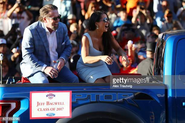 Inductee Jeff Bagwell arrives during the 2017 Hall of Fame Parade of Legends at the National Baseball Hall of Fame on Saturday July 29 2017 in...