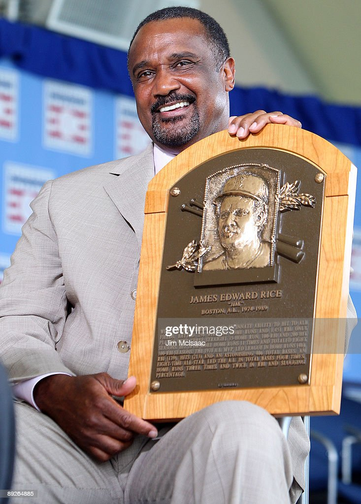 2009 inductee Jim Rice holds his plaque at Clark Sports Center after his induction into the Baseball Hall of Fame during the Baseball Hall of Fame induction ceremony on July 26, 2009 in Cooperstown, New York. Rice played his entire sixteen year career with the Boston Red Sox, was the 1978 American League most valuable player and was a eight time All-Star.