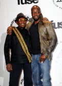 Inductee Jimmy Cliff and Wyclef Jean attend the 25th Annual Rock And Roll Hall Of Fame Induction Ceremony at the Waldorf=Astoria on March 15 2010 in...