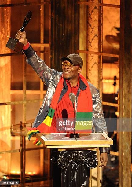 Inductee Jimmy Cliff speaks onstage at the 25th Annual Rock and Roll Hall of Fame Induction Ceremony at the Waldorf=Astoria on March 15 2010 in New...