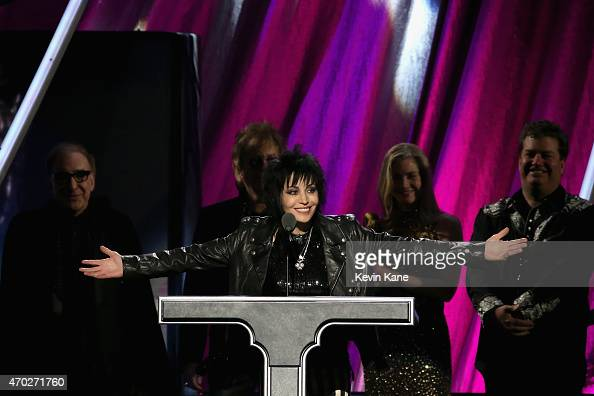 Inductee Joan Jett of Joan Jett and the Blackhearts speaks onstage during the 30th Annual Rock And Roll Hall Of Fame Induction Ceremony at Public...