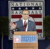 Inductee Joe Torre gives his induction speech during the National Baseball Hall of Fame Induction Ceremony on July 27 2014 in Cooperstown New York