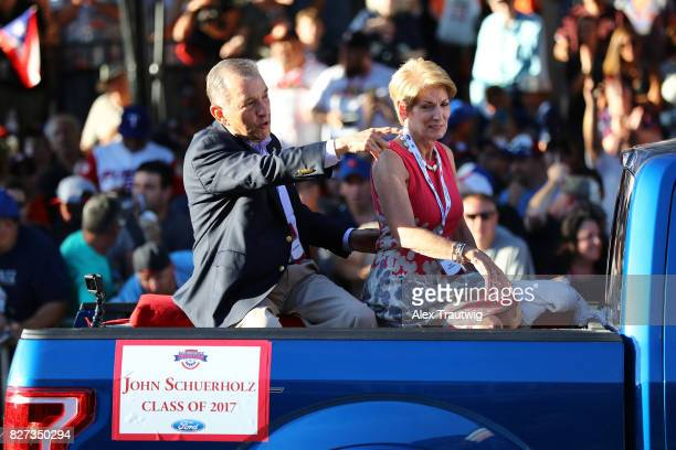 Inductee John Schuerholz arrives during the 2017 Hall of Fame Parade of Legends at the National Baseball Hall of Fame on Saturday July 29 2017 in...