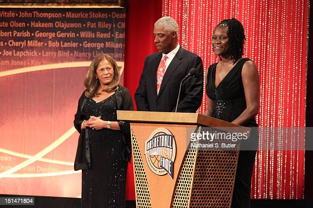 Inductee Katrina McClain speaks to the audience during the 2012 Basketball Hall of Fame Enshrinement Ceremony on September 7 2012 at Symphony Hall in...