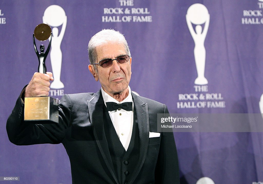 Inductee Leonard Cohen poses in the press room at the 2008 Rock and Roll Hall of Fame Induction Ceremony at The Waldorf-Astoria Hotel on March 10, 2008 in New York City.