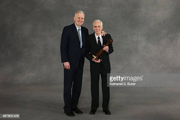 Inductee Lindsay Gaze and his son Andrew Gaze poses for a portrait prior to the 2015 Basketball Hall of Fame Enshrinement Ceremony on September 11...