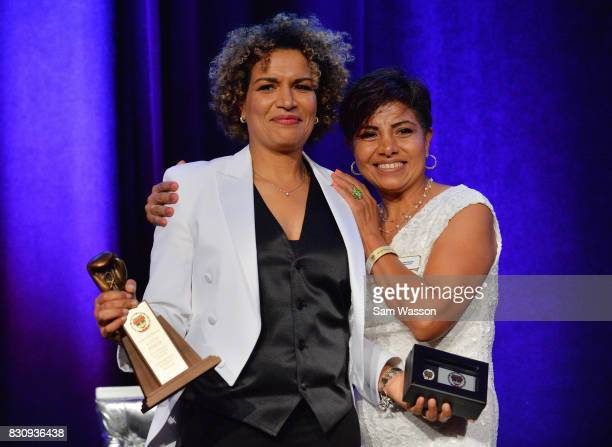 Inductee Lucia Rijker and former boxer Laura Serrano pose for a photo at the fifth annual Nevada Boxing Hall of Fame induction gala at Caesars Palace...