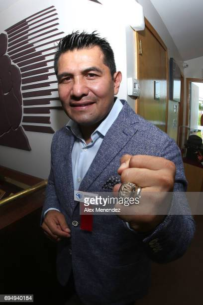 Inductee Marco Antonio Barrera poses with his ring during the International Boxing Hall of Fame induction Weekend of Champions event on June 11 2017...