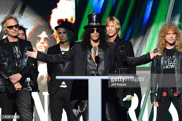 Inductee Matt Sorum Billie Joe Armstrong and Mike Dirnt of Green Day and Inductees Slash Duff McKagan and Steven Adler of Guns N' Roses on stage at...