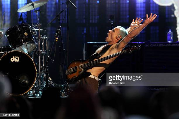 Inductee Michael Balzary aka Flea of Red Hot Chili Peppers performs on stage during the 27th Annual Rock And Roll Hall Of Fame Induction Ceremony at...