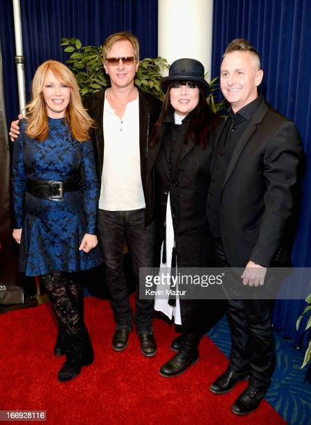 Inductee Nancy Wilson musician Jerry Cantrell inductee Ann Wilson and musician Mike McCready attend the 28th Annual Rock and Roll Hall of Fame...