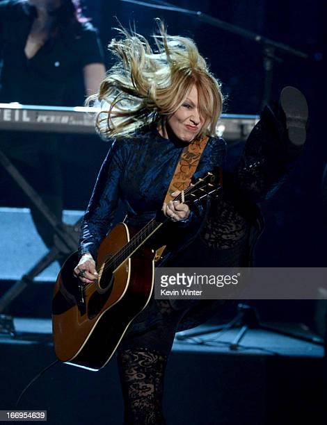 Inductee Nancy Wilson of Heart performs on stage at the 28th Annual Rock and Roll Hall of Fame Induction Ceremony at Nokia Theatre LA Live on April...