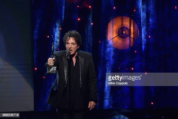 Inductee Neal Schon of Journey speaks stage at the 32nd Annual Rock Roll Hall Of Fame Induction Ceremony at Barclays Center on April 7 2017 in New...