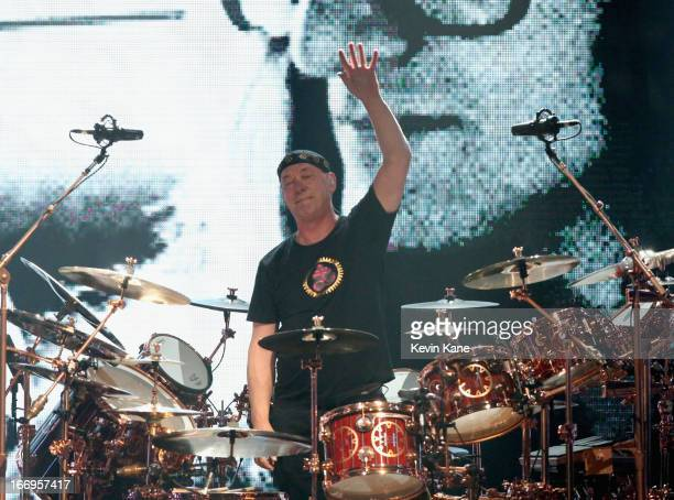 Inductee Neil Peart of Rush performs onstage during the 28th Annual Rock and Roll Hall of Fame Induction Ceremony at Nokia Theatre LA Live on April...