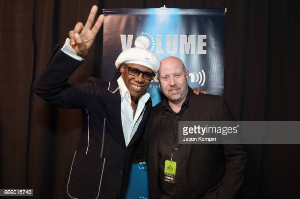 Inductee Nile Rodgers and Director of Talent Relations Promotions/Events at SiriusXM Erik Luftglass pose as SiriusXM broadcasts live interviews from...