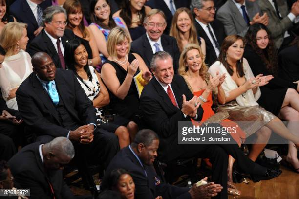 Inductee Pat Riley claps during the 2008 Hall of Fame Enshrinement Ceremony on September 5 2008 at the Basketball Hall of Fame in Springfield...