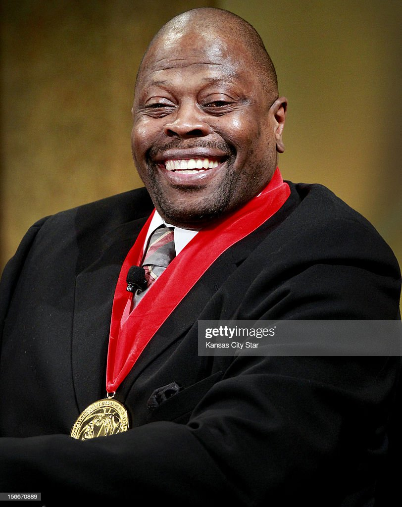 Inductee Patrick Ewing shared a few funny stories from his days at Georgetown during the National Collegiate Basketball Hall of Fame on Sunday, November 18, 2012, in Kansas City, Missouri.