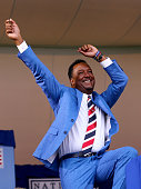 Inductee Pedro Martinez celebrates as he is announced during the Induction Ceremony at National Baseball Hall of Fame on July 26 2015 in Cooperstown...