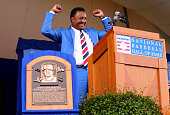 Inductee Pedro Martinez speaks during the Induction Ceremony at National Baseball Hall of Fame on July 26 2015 in Cooperstown New YorkMartinez along...