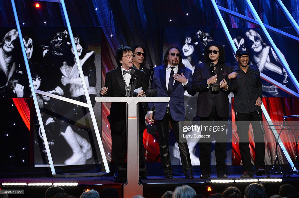 Inductee <a gi-track='captionPersonalityLinkClicked' href=/galleries/search?phrase=Peter+Criss&family=editorial&specificpeople=711301 ng-click='$event.stopPropagation()'>Peter Criss</a> of KISS speaks onstage onstage at the 29th Annual Rock And Roll Hall Of Fame Induction Ceremony at Barclays Center of Brooklyn on April 10, 2014 in New York City.