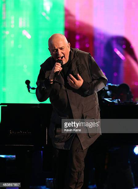 Inductee Peter Gabriel performs onstage at the 29th Annual Rock And Roll Hall Of Fame Induction Ceremony at Barclays Center of Brooklyn on April 10...