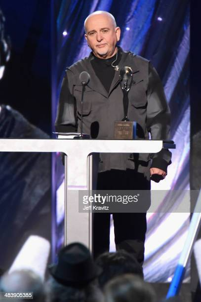 Inductee Peter Gabriel speaks onstage at the 29th Annual Rock And Roll Hall Of Fame Induction Ceremony at Barclays Center of Brooklyn on April 10...