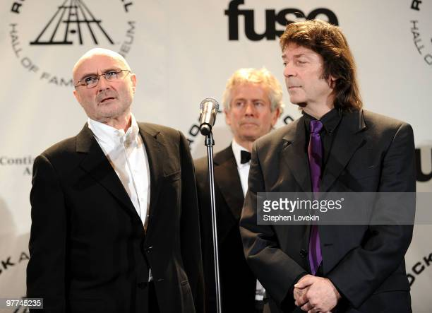 Inductee Phil Collins Tony Banks and Steve Hackett of Genesis attend the 25th Annual Rock And Roll Hall of Fame Induction Ceremony at the...