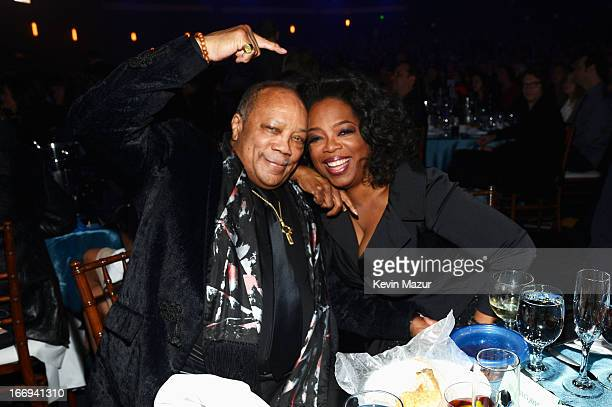 Inductee Quincy Jones and Oprah Winfrey perform onstage during the 28th Annual Rock and Roll Hall of Fame Induction Ceremony at Nokia Theatre LA Live...