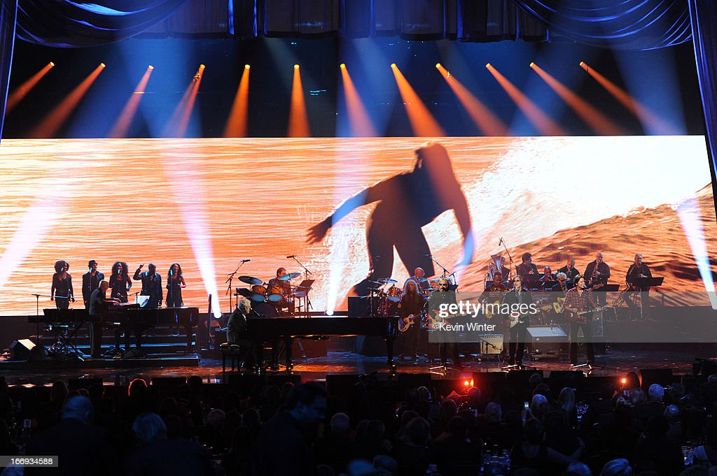 Inductee Randy Newman and musicians Tom Petty, Jackson Browne and John Fogerty perform onstage at the 28th Annual Rock and Roll Hall of Fame Induction Ceremony at Nokia Theatre L.A. Live on April 18, 2013 in Los Angeles, California.